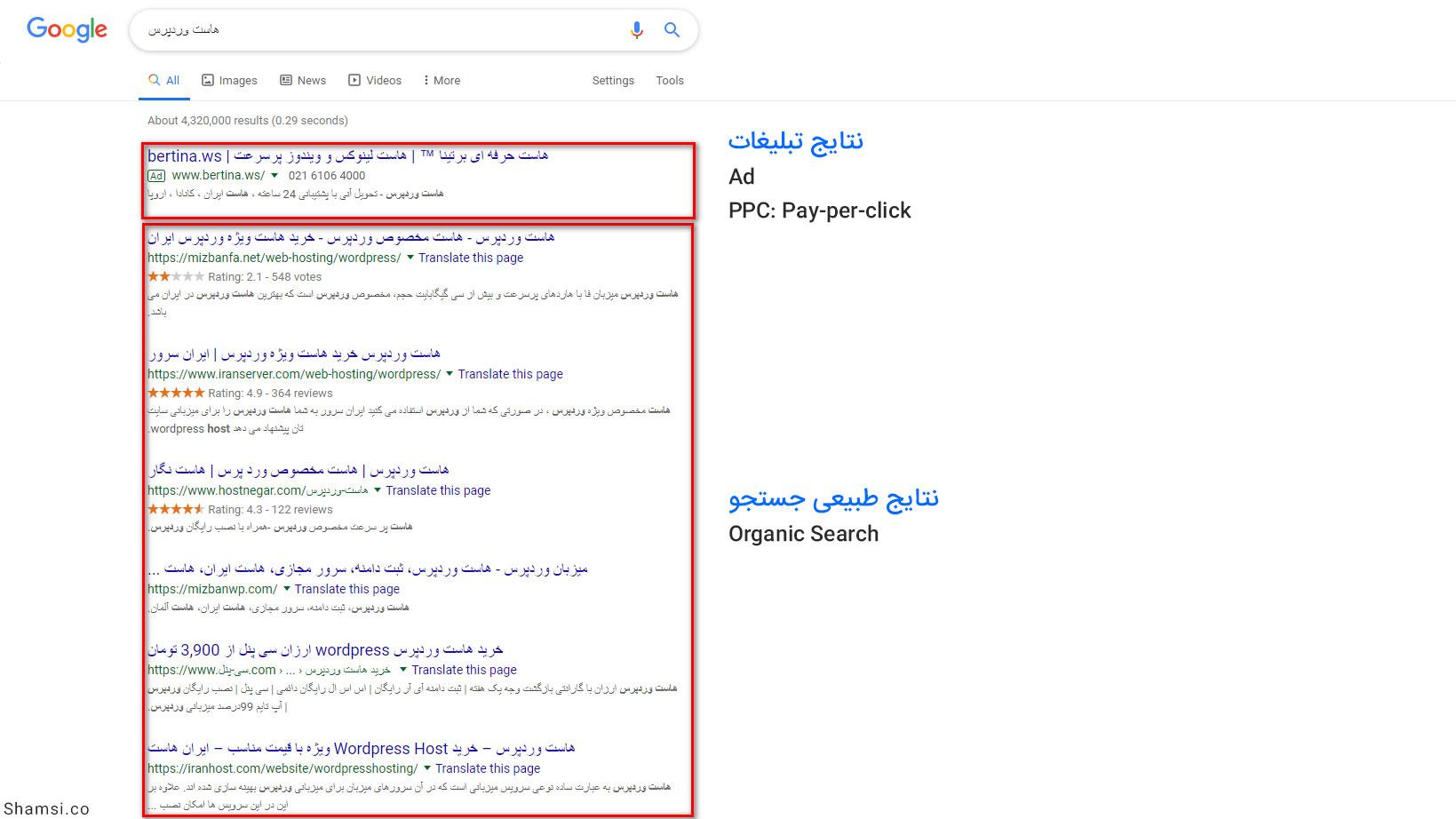 نتایج طبیعی جستجو گوگل