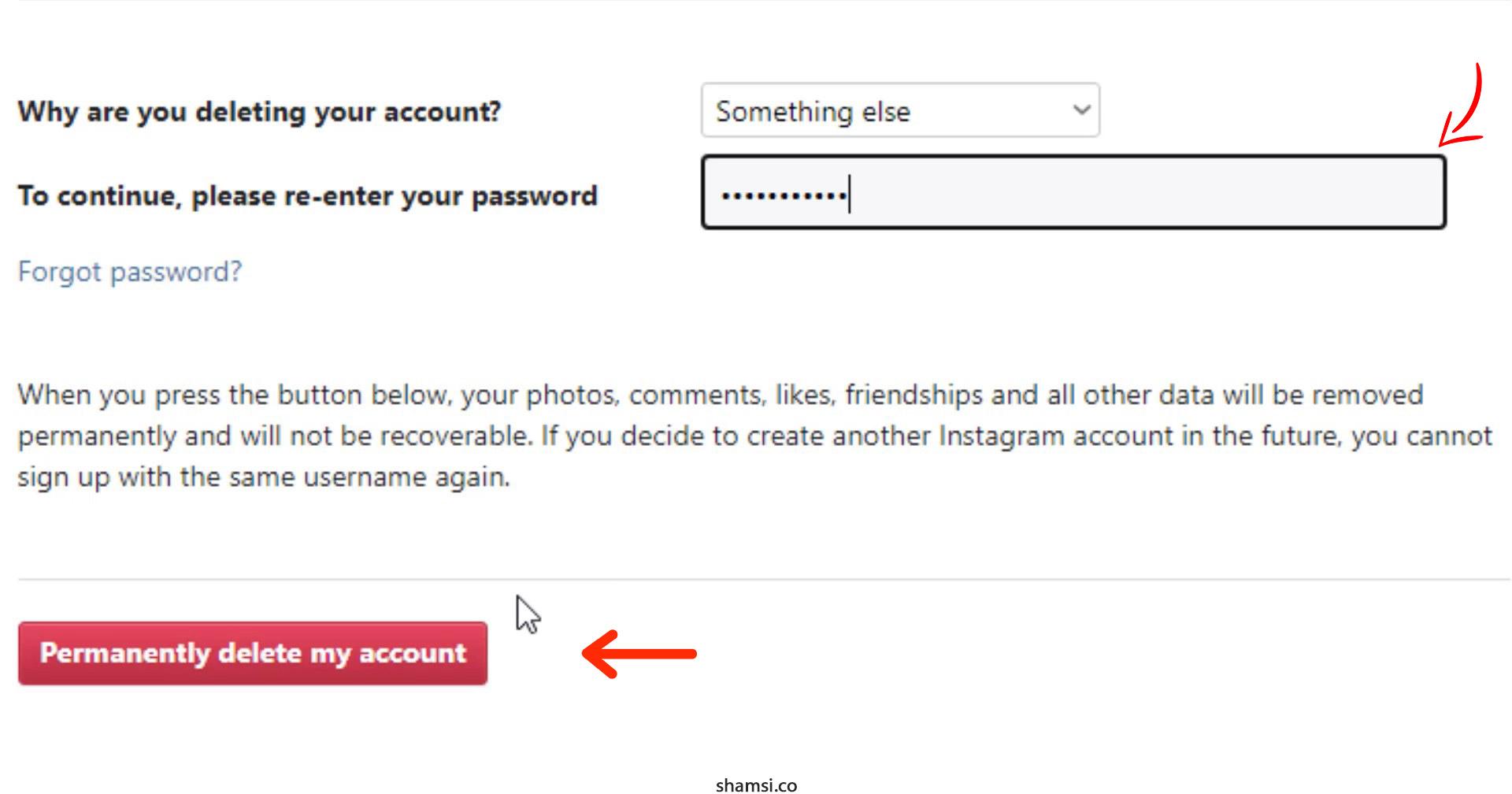 حذف حساب کاربری اینستاگرام